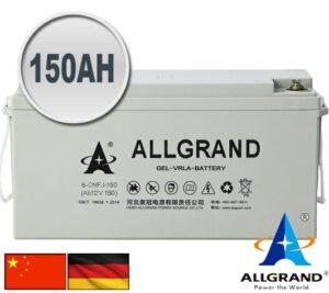 150AH 12V Gel - VRLA Allgrand Deep cycle battery